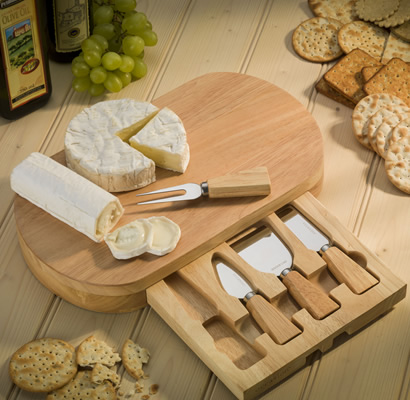 Oval Single Drawer Cheese Board with 4 Cheese Knives