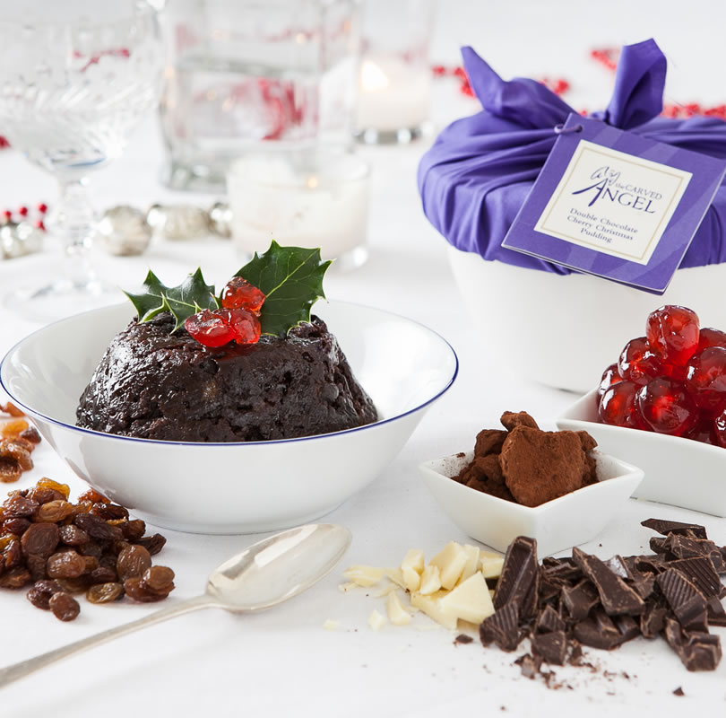 Double Chocolate Cherry Christmas Pudding with Kirsch